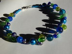 Necklace green blue beaded multistrand
