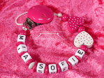 Pacifier chain with name Duo Heart White-Pink