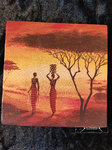 African New Day Frauen Afrika orange sonne Baum Serviette Serviettentechnik