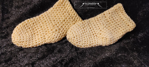 cute baby socks hand-crocheted months yellow